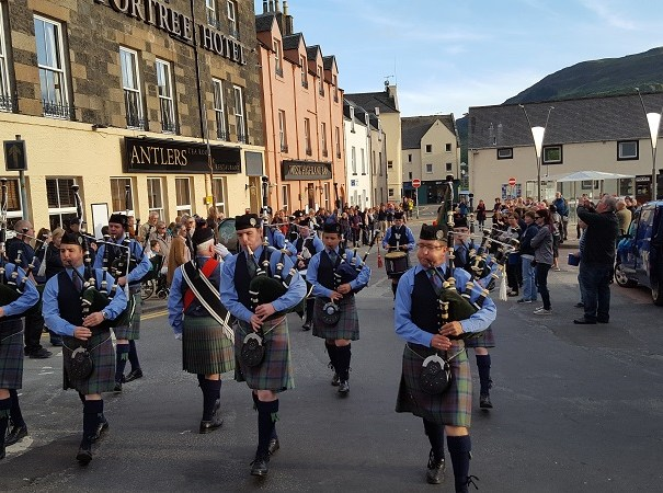 Skye pipe band in action